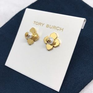 Tory Burch four leaf pearl logo earrings